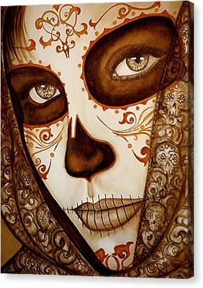 Beautiful Women Canvas Print - Mi Amor Detras Del Velo by Al  Molina