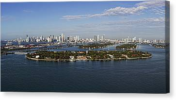 Canvas Print featuring the photograph Miami And Star Island Skyline by Gary Dean Mercer Clark