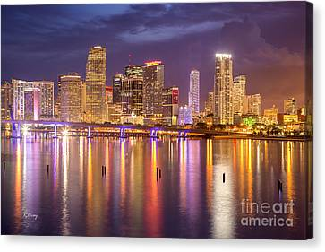 Miami Coming Alive At Dusk Canvas Print