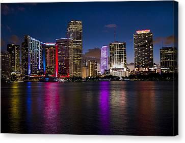 Miami At Night  Canvas Print by Frank Molina