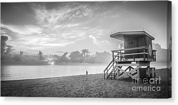 Miami Beach - 74th Street Sunrise - Panoramic - Black And White Canvas Print by Ian Monk
