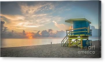 Miami Beach - 74th Street Sunrise - Panoramic Canvas Print by Ian Monk