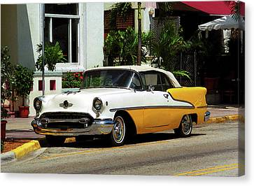 Miami Beach Classic Car With Watercolor Effect Canvas Print by Frank Romeo