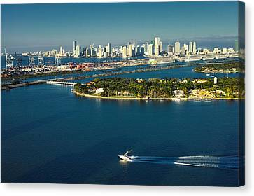 Canvas Print featuring the photograph Miami City Biscayne Bay Skyline by Gary Dean Mercer Clark