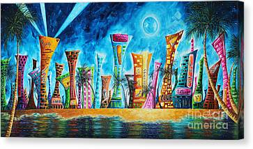 City Canvas Print - Miami City South Beach Original Painting Tropical Cityscape Art Miami Night Life By Madart Absolut X by Megan Duncanson
