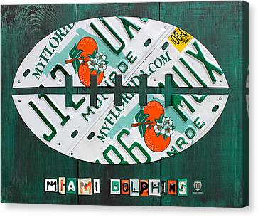 Miami Dolphins Football Recycled License Plate Art Canvas Print by Design Turnpike