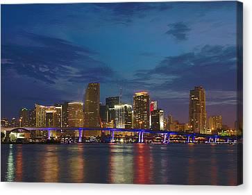 Miami Evening Canvas Print by Bob Sandler