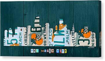 Miami Florida City Skyline Vintage License Plate Art On Wood Canvas Print by Design Turnpike