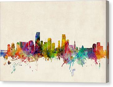 Miami Canvas Print - Miami Florida Skyline by Michael Tompsett