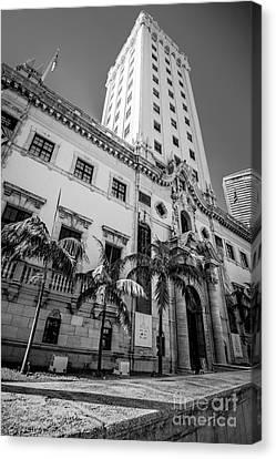 Miami Freedom Tower 1 - Miami - Florida - Black And White Canvas Print by Ian Monk
