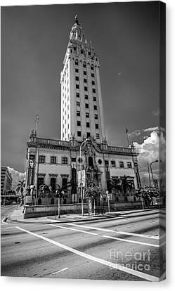 Miami Freedom Tower 4 - Miami - Florida - Black And White Canvas Print by Ian Monk