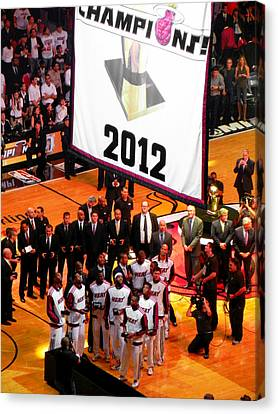 Canvas Print featuring the photograph Miami Heat Championship Banner by J Anthony