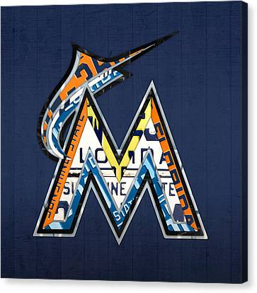 Miami Marlins Baseball Team Vintage Logo Recycled Florida License Plate Art Canvas Print by Design Turnpike