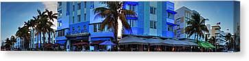 Central Park Canvas Print - Miami - Ocean Drive Pano 003 by Lance Vaughn