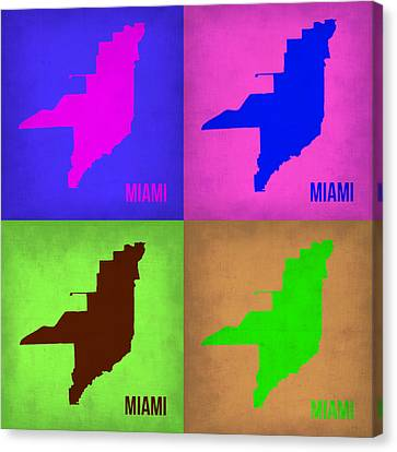 Miami Pop Art Map 1 Canvas Print by Naxart Studio