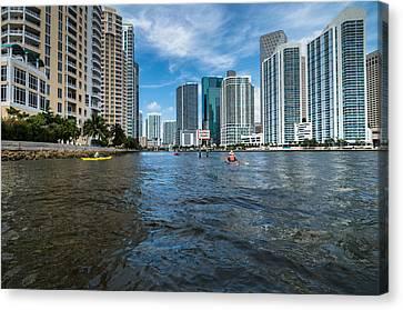 Miami River Kayakers Canvas Print by Jonathan Gewirtz