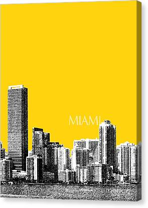 Miami Skyline - Mustard Canvas Print by DB Artist