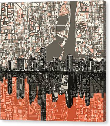 Abstract Digital Canvas Print - Miami Skyline Abstract 2 by Bekim Art