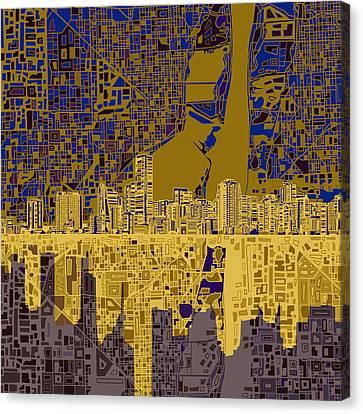 Miami Skyline Canvas Print - Miami Skyline Abstract 3 by Bekim Art