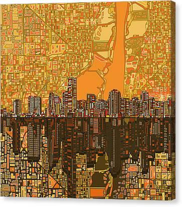 Miami Skyline Canvas Print - Miami Skyline Abstract 5 by Bekim Art