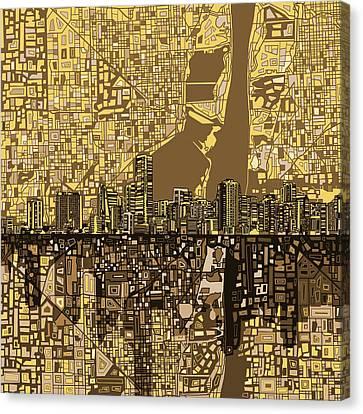 Miami Skyline Canvas Print - Miami Skyline Abstract 6 by Bekim Art