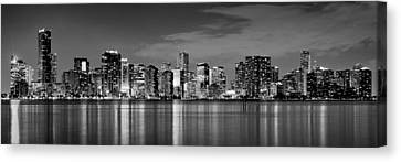 Urban Scenes Canvas Print - Miami Skyline At Dusk Black And White Bw Panorama by Jon Holiday