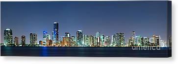 Miami Skyline At Night Canvas Print by Carsten Reisinger