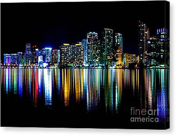 Miami Skyline High Res Canvas Print by Rene Triay Photography