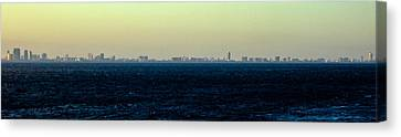 Miami Skyline On The Sea In Blue Canvas Print by Lauren Baker