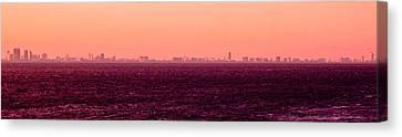Miami Skyline On The Sea In Red Violet Canvas Print by Lauren Baker