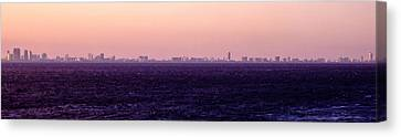 Miami Skyline On The Sea In Violet Canvas Print by Lauren Baker