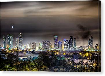 Miami Skyline-the Mystical City Hdr Canvas Print