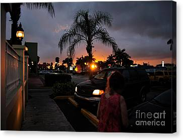 Miami Strip Mall Sunset Canvas Print by Andres LaBrada