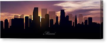 Miami Sunset Canvas Print by Aged Pixel