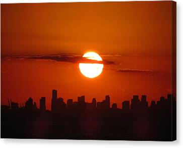 Canvas Print featuring the photograph Miami Sunset by Jennifer Wheatley Wolf
