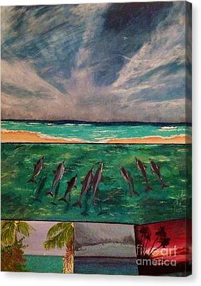 Canvas Print featuring the painting Delfin by Vanessa Palomino