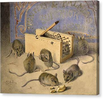 Feeding Canvas Print - Mice And Huntley Palmers Superior Biscuits by Agnes Louise Holding