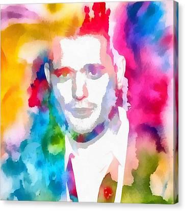 Michael Buble Watercolor Portrait Canvas Print by Dan Sproul
