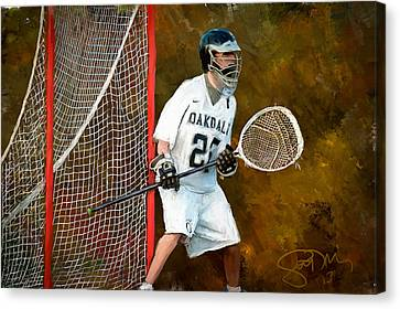 Michael In Goal Canvas Print by Scott Melby