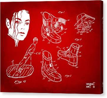 Michael Jackson Anti-gravity Shoe Patent Artwork Red Canvas Print