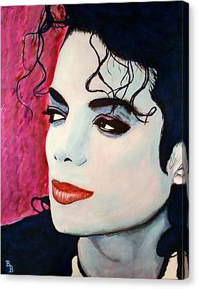 Canvas Print featuring the painting Michael Jackson Art - Full Color by Bob Baker