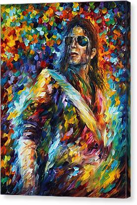 Michael Jackson - Palette Knife Oil Painting On Canvas By Leonid Afremov Canvas Print by Leonid Afremov