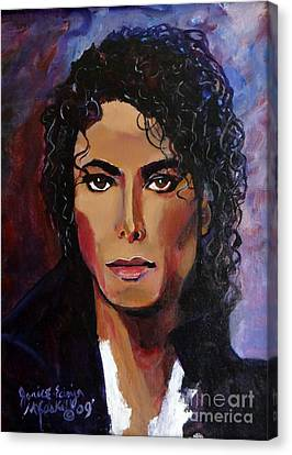 Canvas Print featuring the painting Michael Jackson Timeless Memory by Ecinja Art Works