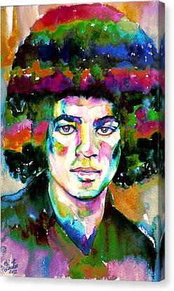 Michael Jackson - Watercolor Portrait.11 Canvas Print by Fabrizio Cassetta
