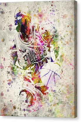 Nba Drawings Canvas Print - Michael Jordan by Aged Pixel
