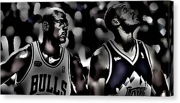 Michael Jordan And Carl Malone Canvas Print by Brian Reaves