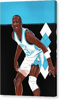 Michael Jordan Carolina Blues Canvas Print by Dino Murphy