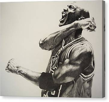 Nba Drawings Canvas Print - Michael Jordan by Jake Stapleton