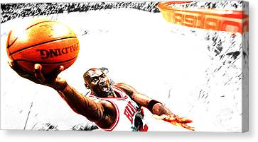 Patrick Ewing Canvas Print - Michael Jordan Lift Off by Brian Reaves
