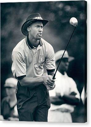 Slam Canvas Print - Michael Jordan Looks At Golf Shot by Retro Images Archive